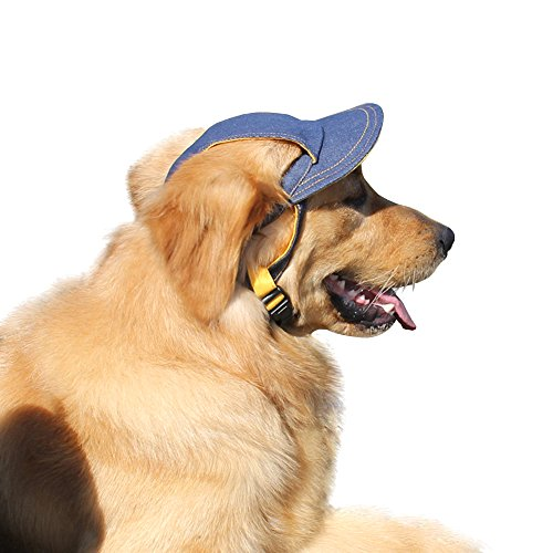 CIDEROS Pet Dog Hats for Small Large Medium Size Dogs Visor Design Fashion Dogs Denim Hat Sports Baseball Cap with Ear Holes By (Navy Color) - Size - Cap Navy Pet