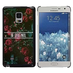 Sé original floral de las rosas motivación - Metal de aluminio y de plástico duro Caja del teléfono - Negro - Samsung Galaxy Mega 5.8