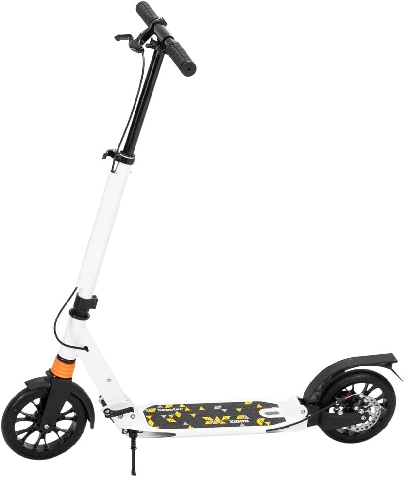 Adult Scooter Folding Kick Scooter Dual Braking Lightweight Push Scooter City Scooter with Kickstand Carry Strap 3 Heights Adjustable Handlebar 200mm Wheels Rear Brake Adults Teens Ages 12 UK STOCK