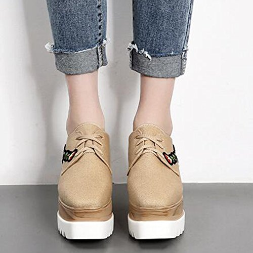 Easemax Womens Trendy Canvas Embroidered Flower Lace Up Square Toe Platform Mid Wedge Heel Sneakers Apricot DsDBPp
