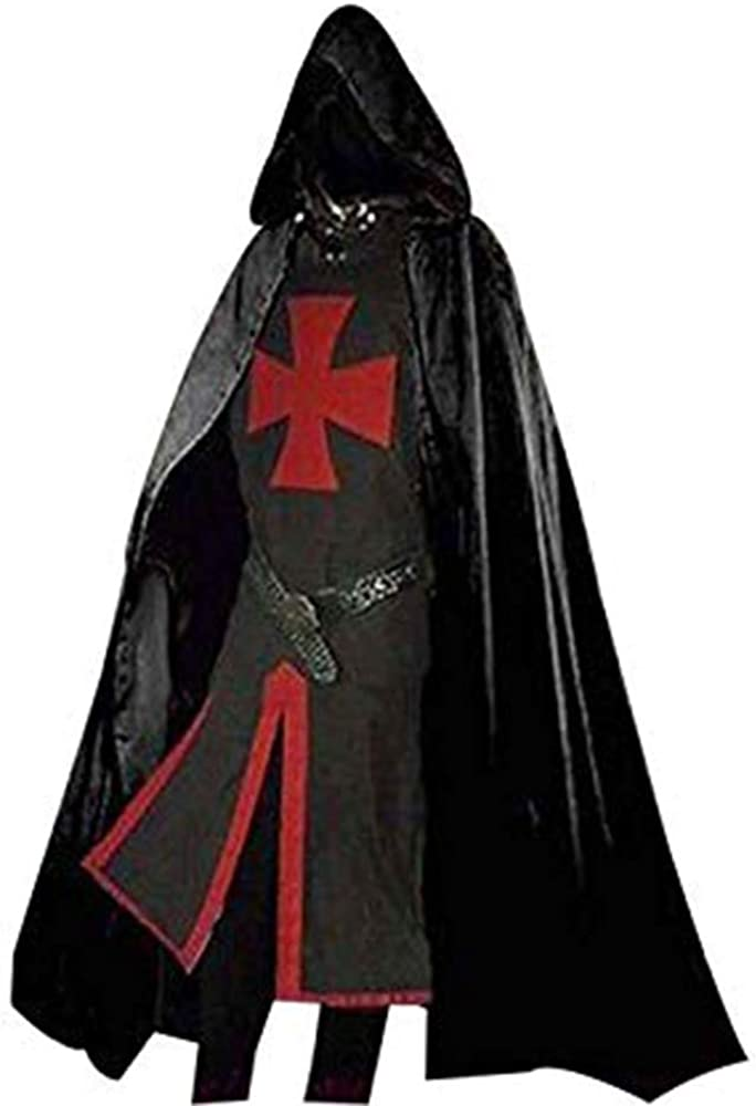 Medieval Warrior Crusaders Knight Tunic CAPE Cloak Robe  LARP Cosplay Costume