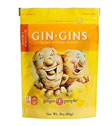Ginger People Gin Gins Double Strength Gluten Free Ginger Candy, 3 Oz (Pack of 4)