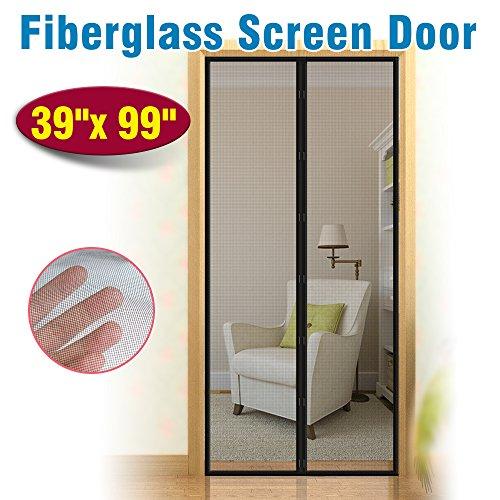 - Fiberglass Mesh Magnetic Screen Door IKSTAR Instant Screen Door with Full Frame Velcro Mesh Curtain for Front & Back Door Home Outside Kids/Pets Walk Through Easily Fit Door Up to 36