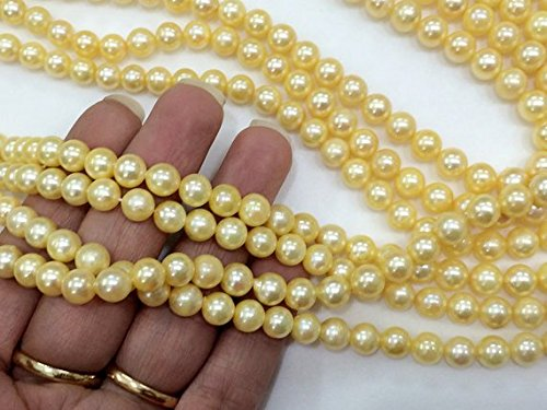 Sea South Pearl Round Green (JP_Beads 1 Strand Natural Pearls, Original South Sea Pearls Non Treated Smooth Round Balls, 7-8mm, 18 inch)