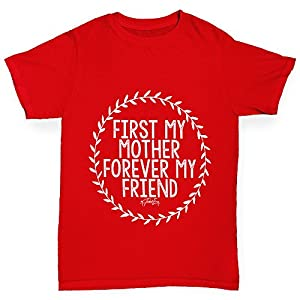 Boy's First My Mother Forever My Friend Cotton T-Shirt Age 9-11 Red