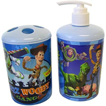 Disney Pixar 2pc Toothbrush Holder and Soap Dispenser Toy Story Bath Set   Toy  Story Toothbrush Holder   Toy Story Soap Pump. Amazon com  3 Pc Toy Story Bath Set   Dispenser   Toothbrush