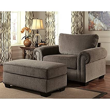 Attrayant Ashley Emelen Chenille Oversized Accent Chair With Ottoman In Alloy