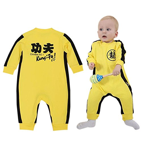 Albabara Baby Boy's Kung Fu Jumpsuit Super Hero Romper Long Sleeves One Piece Suit Bruce Lee Superstar Costume, (Fairy Tales Costumes For Boys)