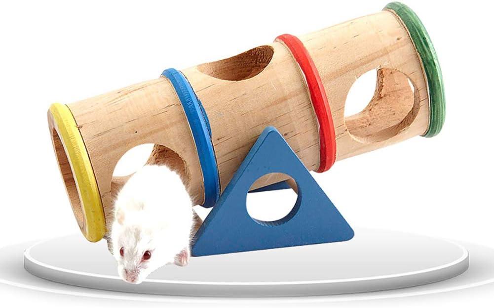 1PC Hámster Balancín Colorido Cilindro De Madera De Hámster Tubos Balancín Juguete Pequeños Animales Diversión del Patio Que Juegan Y El Rechinar De Dientes para Hamster/Guinea Pig/Chinchilla
