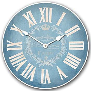 Linen Blue Wall Clock, Available in 8 sizes, Most Sizes Ship 2 - 3 days, Whisper Quiet.