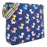 Kukubird Adorable Unicorn Crossbody Design Tote Top-Handle Shoulder Bag Handbag -Dark Blue