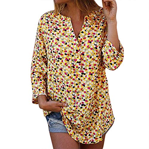 Leisuraly Women's Blouse Short Sleeve Floral Print T-Shirt Comfy Casual Tops for Women V Sleeve Notch Neck Tunic Top Yellow