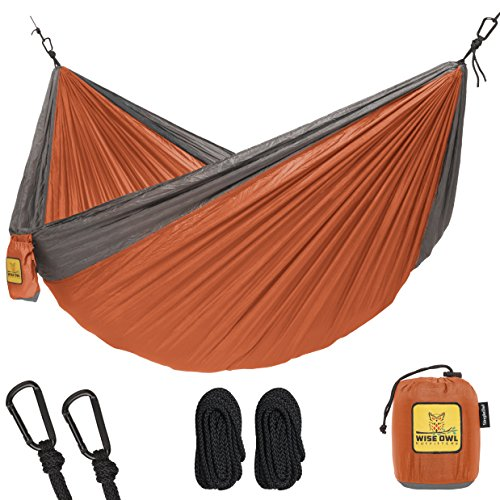 Hammock for Camping Single & Double Hammocks - Top Rated Best Quality Gear For The Outdoors Backpacking Survival or Travel - Portable Lightweight Parachute Nylon SO Orange & Grey