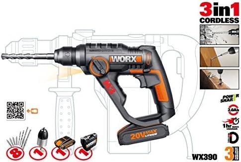 Worx WX390 - Martillo perforador 20v 3-en-1 h3, con plataforma powershare (enchufe inglés)