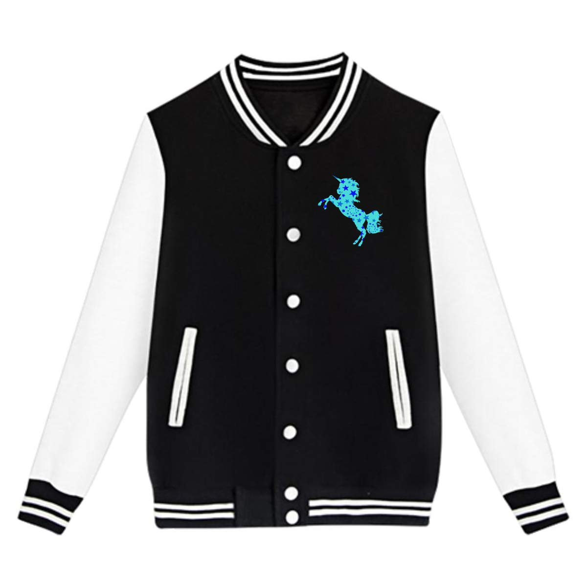 Unisex Teen Baseball Uniform Jacket Galaxy Unicorn Sweater Sport Coat