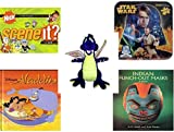 "Children's Gift Bundle - Ages 6-12 [5 Piece] - Scene It? Nickelodeon DVD Board Game - Star Wars 2-Sided Puzzle Tin - Toy Works Purple Dragon Plush 20"" - Disney's Aladdin (Disney Classic Series) Hard"