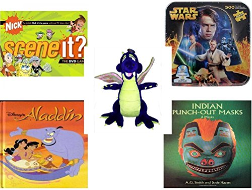 Classic Toy Series Tin (Children's Gift Bundle - Ages 6-12 [5 Piece] - Scene It? Nickelodeon DVD Board Game - Star Wars 2-Sided Puzzle Tin - Toy Works Purple Dragon Plush 20