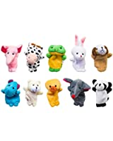 Velvet Cute Animal Style Finger Puppets for Children, Shows, Playtime, Schools - 10 Animals Set by Super Z Outlet®