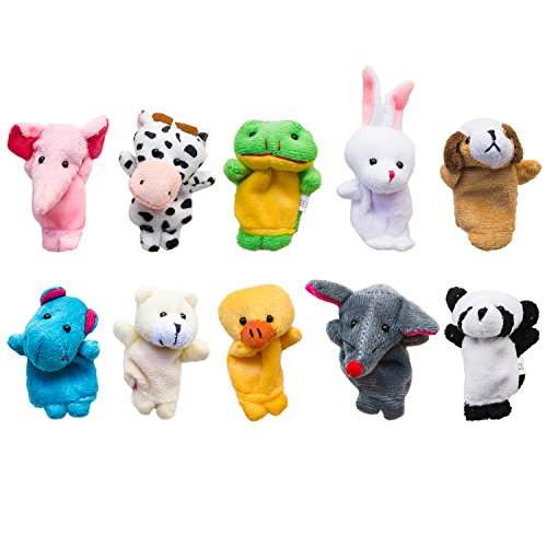 (Velvet Cute Animal Style Finger Puppets for Children, Shows, Playtime, Schools - 10 Animals Set)