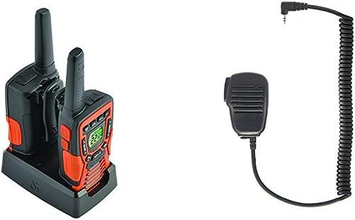 Cobra ACXT1035R FLT Walkie Talkies 37-Mile Two-Way Radios with Rewind-Say-Again Pair Bundle with Cobra GA-SM08 Handheld Speaker Microphone, Black