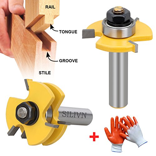 SILIVN Tongue and Groove Set, Router Bit Set, Wood Door Flooring 3 Teeth Adjustable, 1/2 Inch Shank T Shape Wood Milling Cutter Woodworking Tool, 2 Piece by SILIVN