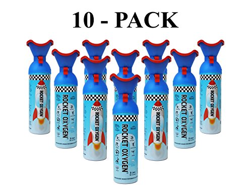 Rocket Oxygen Natural Energy Boosters 10 Pack - Portable Natural Oxygen Can for Fast Recovery, Helps Stay Energetic - BPA Free -No Sugar, No Caffeine Added - Made in USA, 22oz