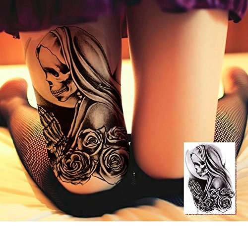 Dead Celebrities Halloween Costumes (pin up girl skull temporary TATTOO body art metallic flash tattoo body stickers 3d body glam Water transfer size large)