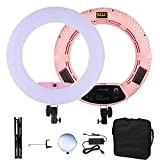 Yidoblo Dimmable LED Ring Light FS-480II for Portrait Selfie Youtube Photo Video Studio Photography Continuous Light with Tripod, Carrying Bag, Makeup Mirror, Photo/Camera Holder Pink