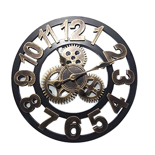 CSQ ギアハンギングクロック、ヴィンテージリビングルームウォールクロック木製ウォールクロックホームバー装飾壁時計直径48-58CM ウォールクロックと掛け時計 (色 : A, サイズ さいず : 58*58CM) B07DN5VJ98 58*58CM|A A 58*58CM