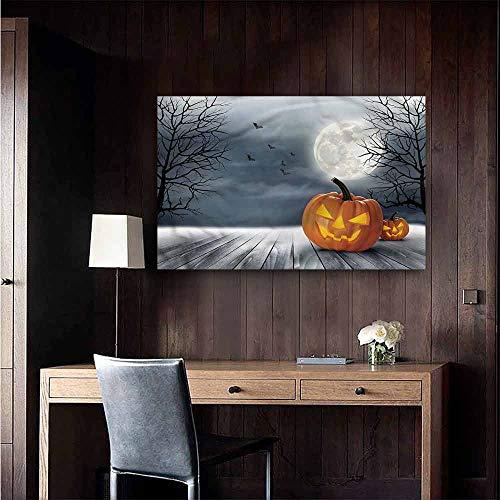 (Gabriesl Waterproof Art Wall Paper Poster Halloween Full Moon Night Pumpkins Hall Fashion Size : W36 x)