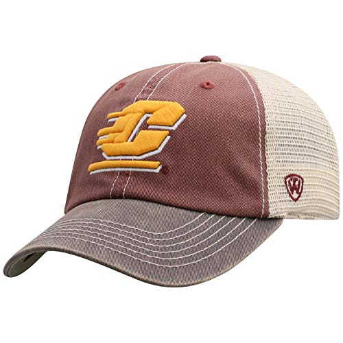 - Top of the World Men's Relaxed Fit Adjustable Mesh Offroad Hat Team Color Icon, Central Michigan Chippewas Maroon,
