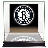 NBA Brooklyn Nets Glass Basketball Display Case with Team Logo Background