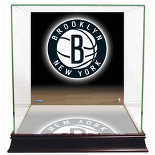NBA Brooklyn Nets Glass Basketball Display Case with Team Logo Background by Steiner Sports