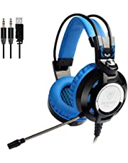 Gaming Headset with Microphone for PC Games Over Ear Computer Headphones USB Red 3.5mm Nubwo Skin-Friendly Earpads Gamer Headset for with Led Light & in-line Volume Control