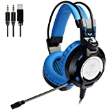 Gaming Headset USB 3.5mm Adjustable Microphone for PC Games Noise Cancelling Computer Blue Gamer Headphones Over Ear Comfortable Protein Earpads Cool LED Light & In-line Control Review
