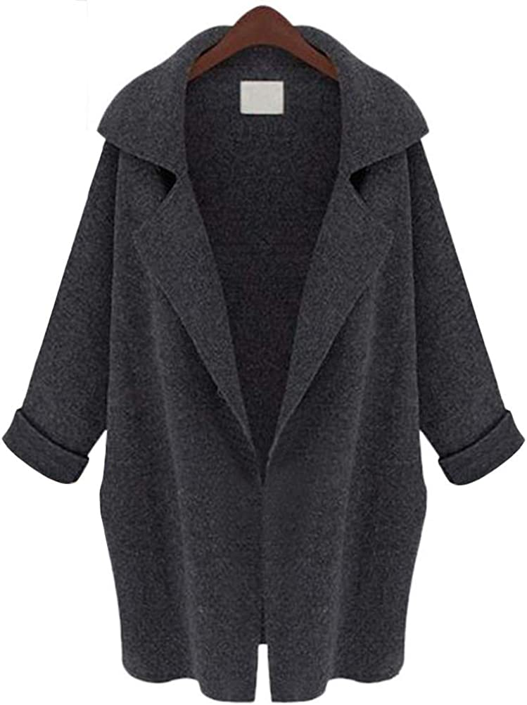 YAXAN Womens Suit Collar Long Version Solid Color Knit Shawl Sweater Cardigan Coat Coats Color : Darkgray, Size : OneSize