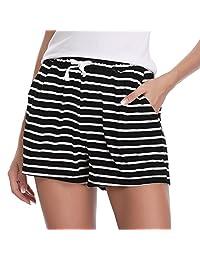 Hawiton 1 & 2 PCS Women Striped Cotton Sleeping Pajama Bottoms Exercise Fitness Shorts
