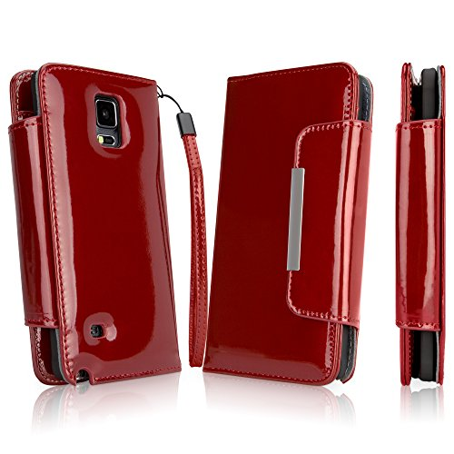 Galaxy Note 4 Case, BoxWave [Patent Leather Clutch Case] Vegan Leather Wristlet / Wallet Cover for Samsung Galaxy Note 4 - Ruby