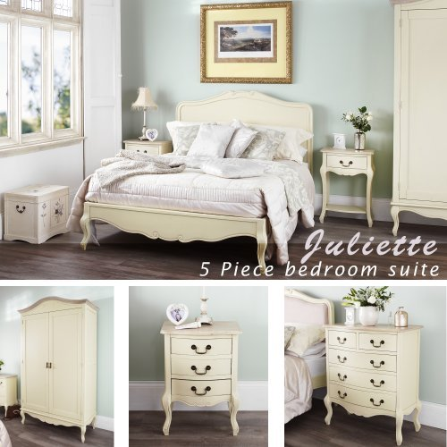 Juliette Shabby Chic Champagne King Bed 5pc Bedroom Suite. Cream 5ft Bed,  Bedside Table