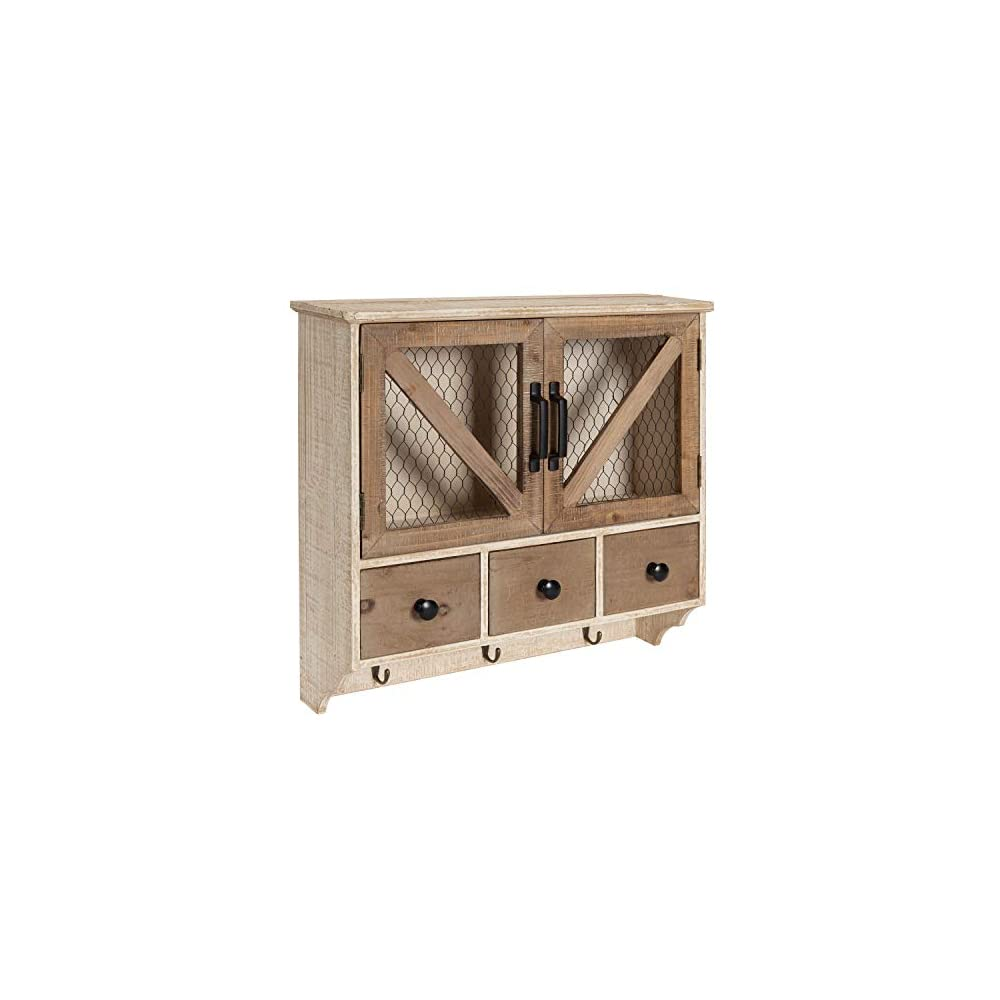 Kate and Laurel Hutchins Decorative Wooden Wall Cabinet with Chicken Wire 2-Door Front, Rustic and White-Washed Finish
