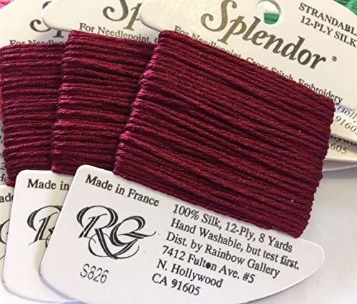 (Splendor Silk Thread-Color S826-BURGUNDY-1 Card in This Listing-)