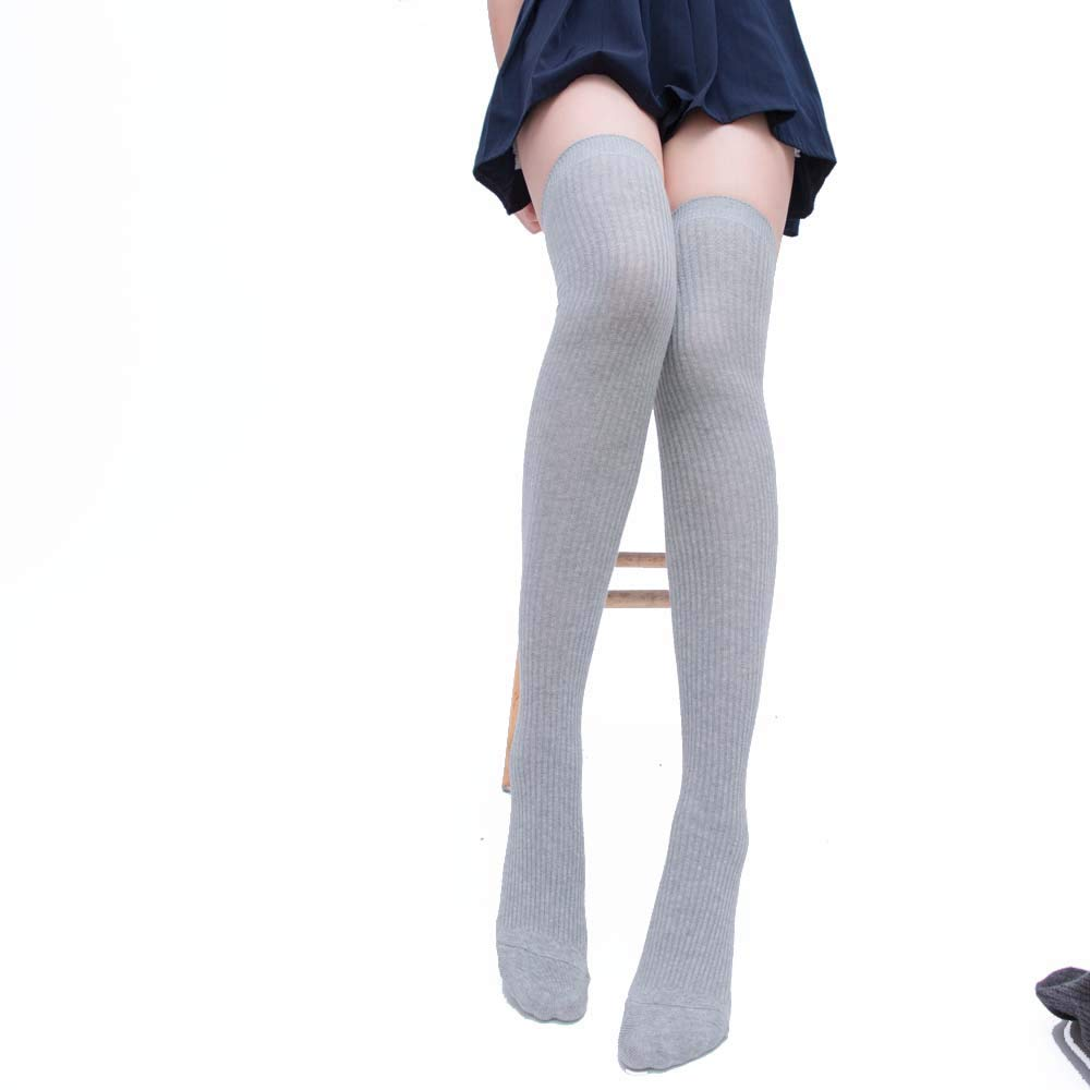 7f2038b3b1f YANN Valentine Long Cotton Thigh High Socks Over the Knee Knit High Boot  Stockings Cotton Leg Warmers at Amazon Women s Clothing store