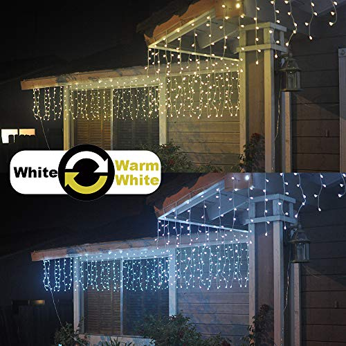 Cool White Icicle - Alion Home 2-in-1 Dual Color 256-Count LED String Starry Curtain Icicle Lights with 9 Functions & Controller- 16ft W × 2ft H- Warm White + Cool White