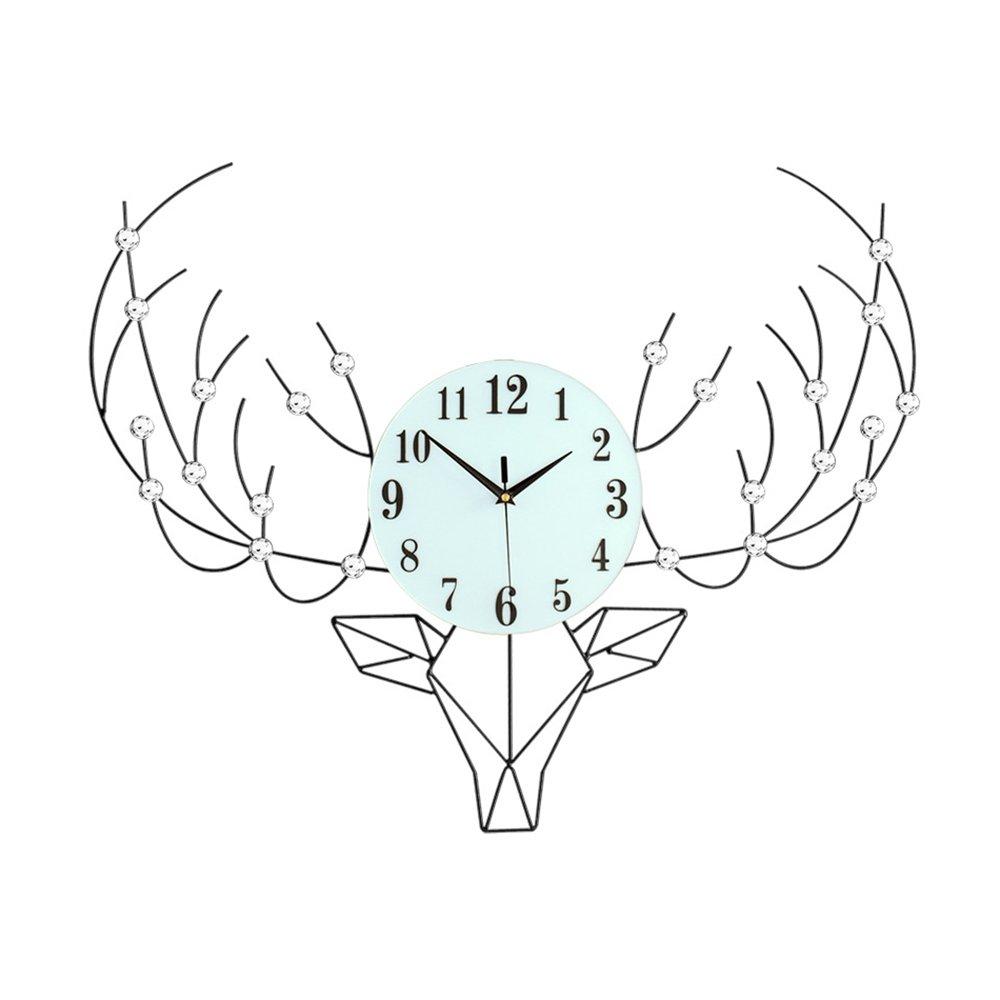 ウォールクロックノルディックアートウォールクロックモダンミニマリストリビングルーム時計ファッションパーソナリティミュートベッドルーム時計素朴なスタイルクォーツ時計20インチ(直径50.5センチメートル)   B07QY5XKBM