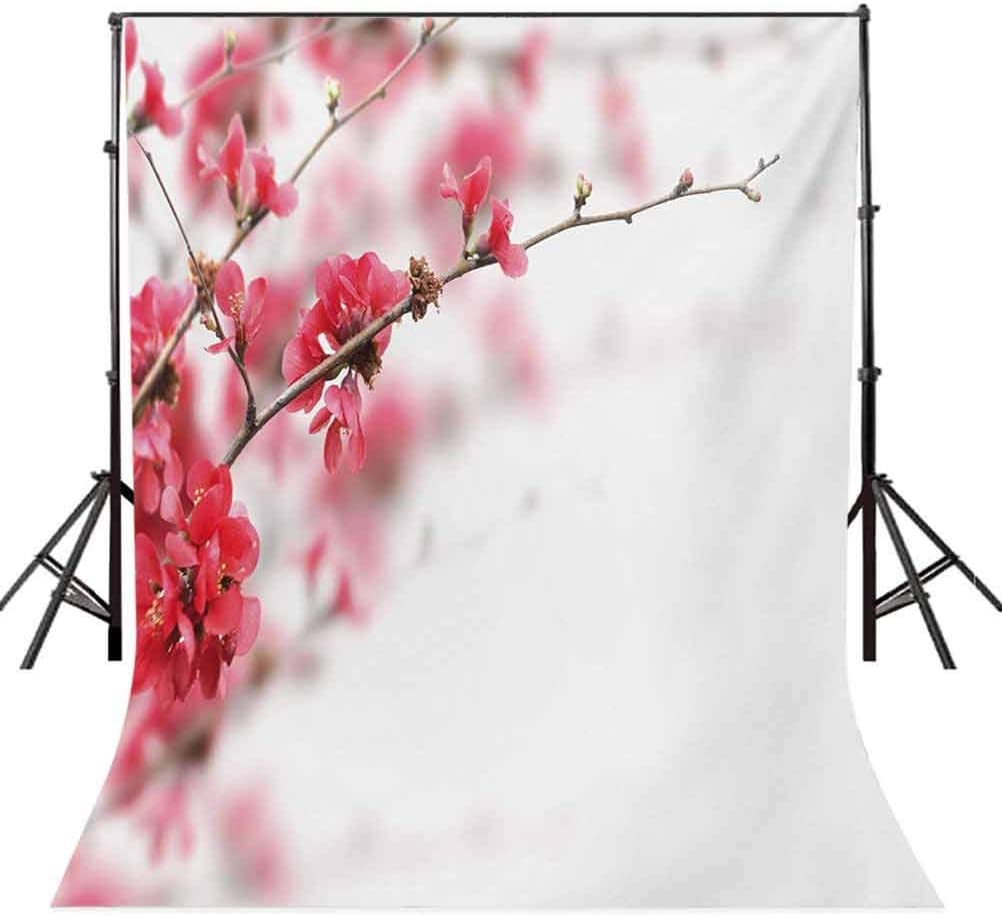 6x8 FT Photography Backdrop Nature Beauty Cherry Blossom Branches Misty Inspirational Japanese Blooms Image Background for Baby Shower Birthday Wedding Bridal Shower Party Decoration Photo Studio