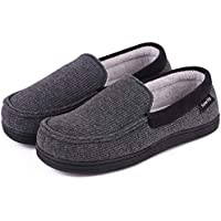 Women's Comfort Cotton Knit Memory Foam House Shoes Light Weight Terry Cloth Loafer Slippers w/Anti-Skid Rubber Sole