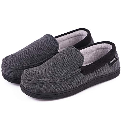 y Memory Foam Moccasin Slippers Breathable Cotton Knit Terry Cloth House Shoes w/Anti-Skid Sole (8 B(M) US, Dark Gray) ()
