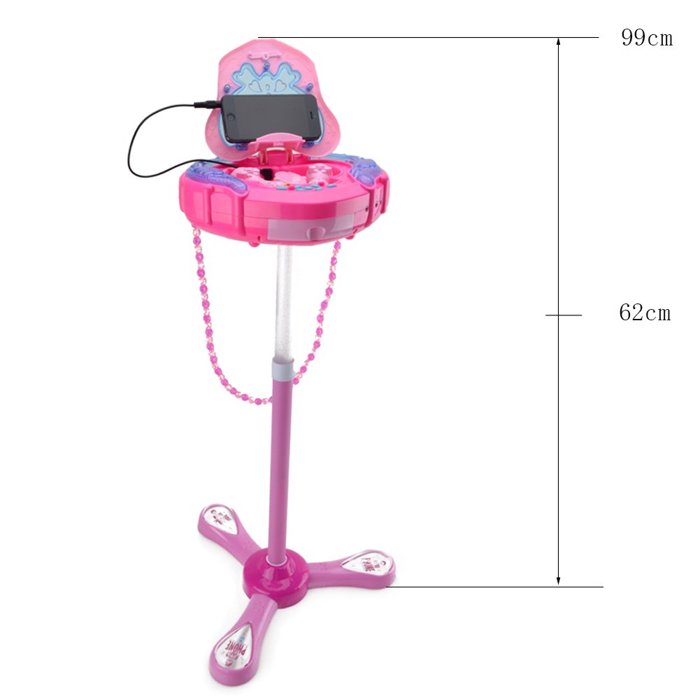 WISHTIME Girls Karaoke Machine Music Toys Multifunction Music Player Fashion Happy Girls Female Bag Box Music Light 1 Microphone 1 AUX Cable Kids 3+ by WISHTIME (Image #6)