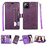 iPhone 11 Wallet Case,FLYEE 10 Card Slots Premium Leather Zipper Purse case Flip Kickstand Folio Magnetic with Wrist Strap Credit Cash Cover for Apple iPhone 11 6.1 inch [Purple]