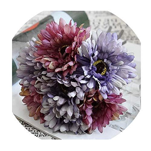 (7Pcs Silk Gerbera Bouquet New Year Christmas Home Decora Accessories Wedding Fake Plastic Flowers Artificial Flowers,Purple)